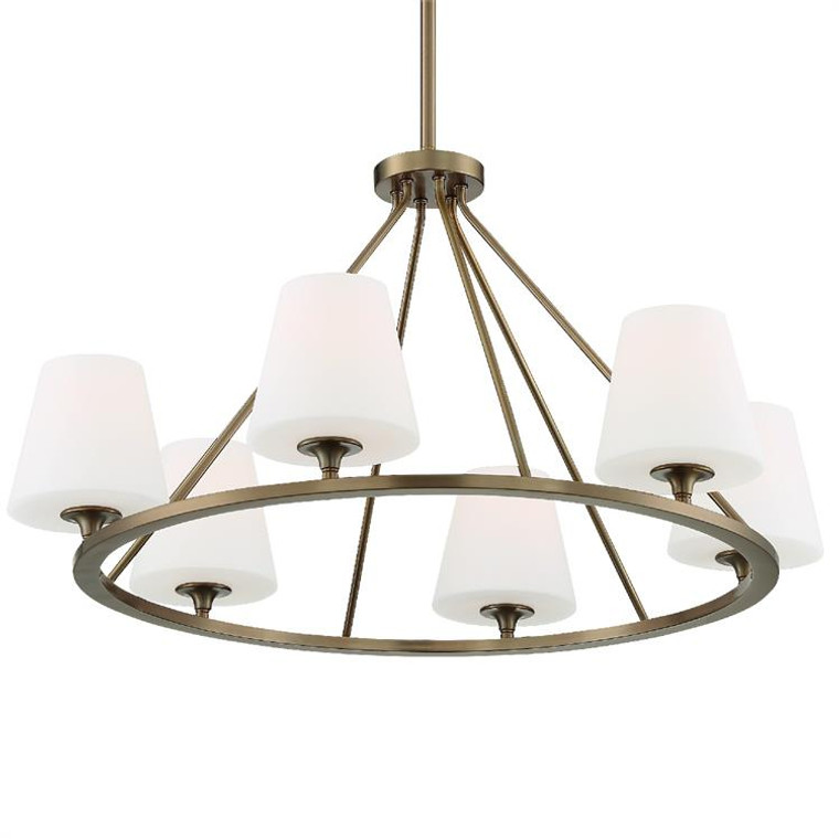 Crystorama Keenan 6 Light Vibrant Gold Chandelier KEE-A3006-VG