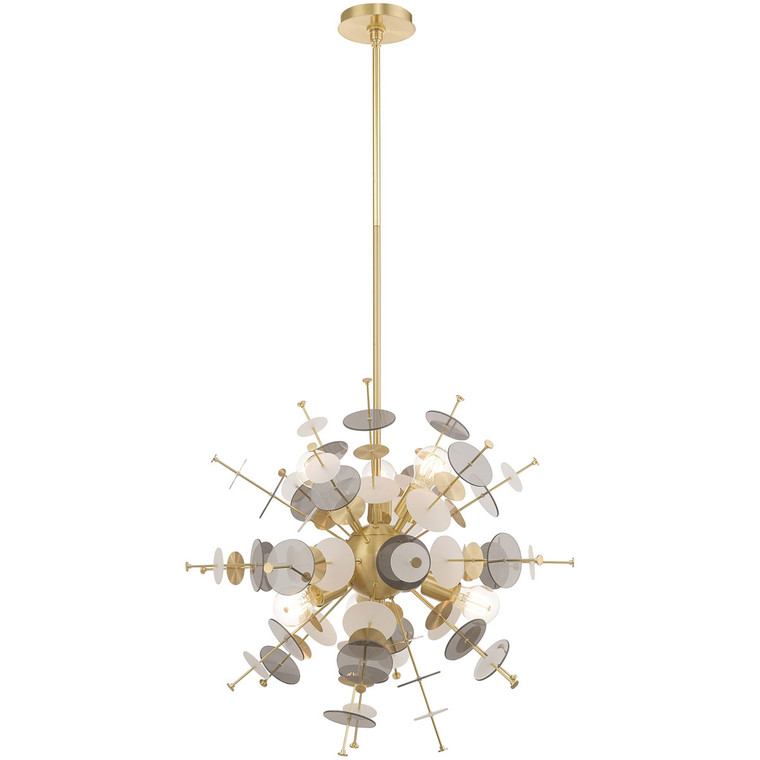 Livex Lighting Circulo Collection 6 Lt Satin Brass Pendant Chandelier in Satin Brass 40074-12