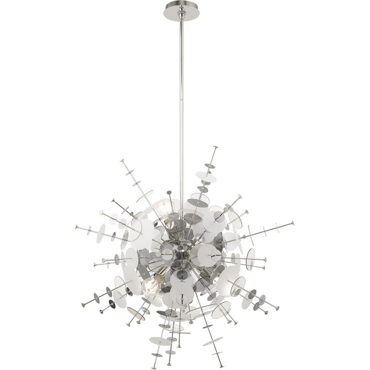 Livex Lighting Circulo Collection 6 Lt Polished Chrome Pendant Chandelier in Polished Chrome 40076-05