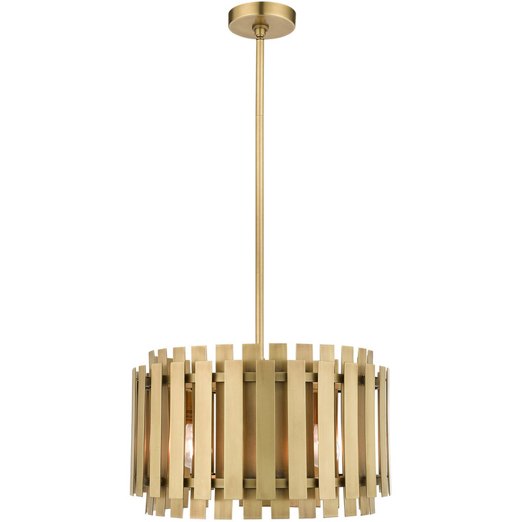 Livex Lighting Greenwich Collection 5 Lt Natural Brass Pendant Chandelier in Natural Brass 52048-08