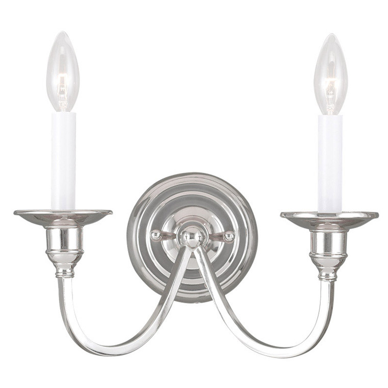 Livex Lighting Cranford Collection 2 Light Polished Nickel Wall Sconce in Polished Nickel 5142-35