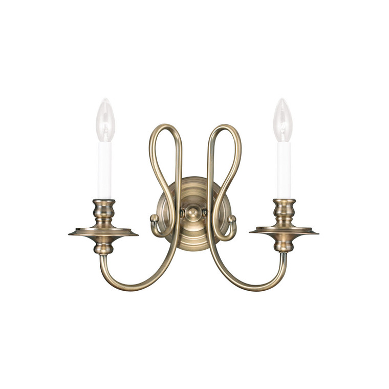 Livex Lighting Caldwell Collection 2 Light Antique Brass Wall Sconce in Antique Brass 5162-01