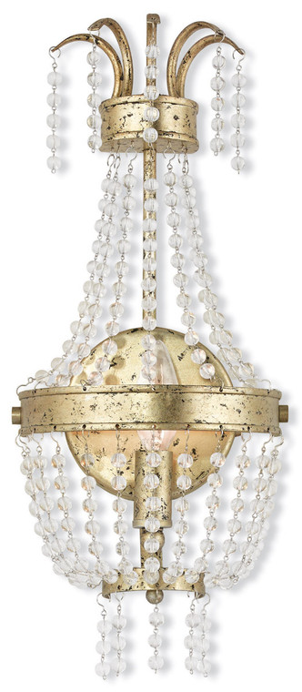 Livex Lighting Valentina Collection 1 Light Winter Gold Wall Sconce in Hand Applied Winter Gold 51872-28