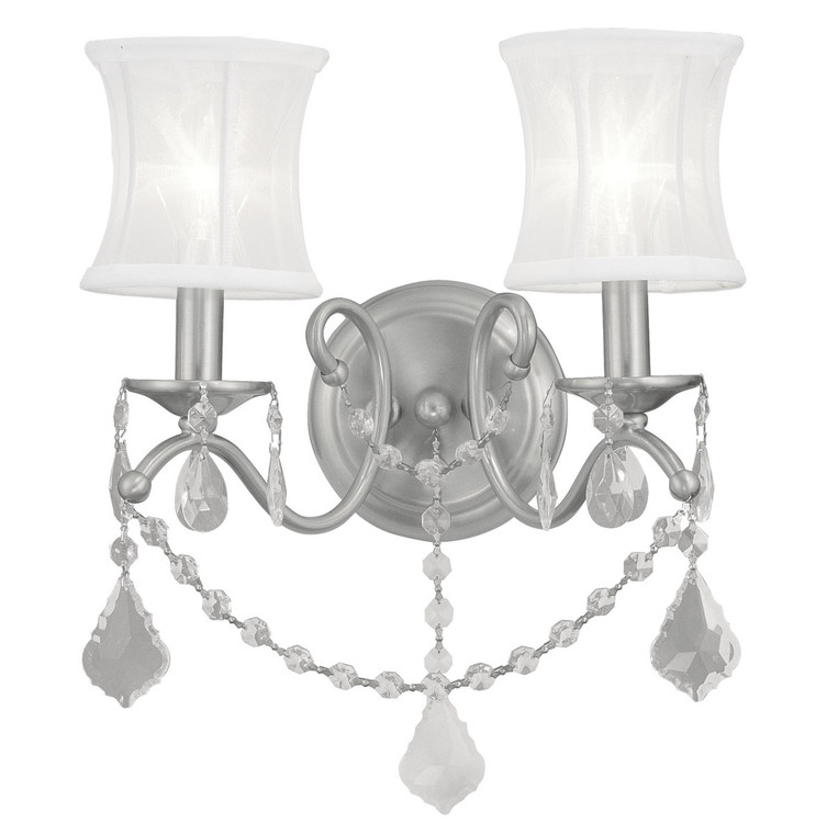 Livex Lighting Newcastle Collection 2 Light Brushed Nickel Wall Sconce in Brushed Nickel 6302-91