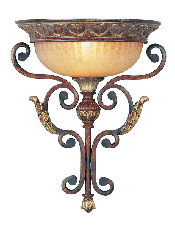 Livex Lighting Villa Verona Collection 1 Light VBZ Wall Sconce in Verona Bronze with Aged Gold Leaf Accents 8580-63