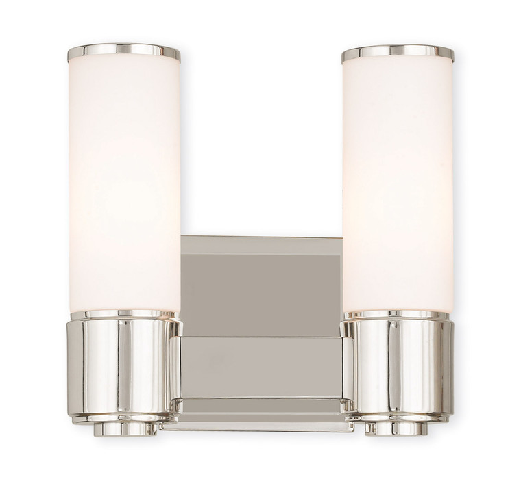 Livex Lighting Weston Collection 2 Light PN Wall Sconce/ Bath Light in Polished Nickel 52102-35