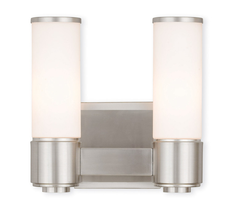 Livex Lighting Weston Collection 2 Light BN Wall Sconce/ Bath Light in Brushed Nickel 52102-91