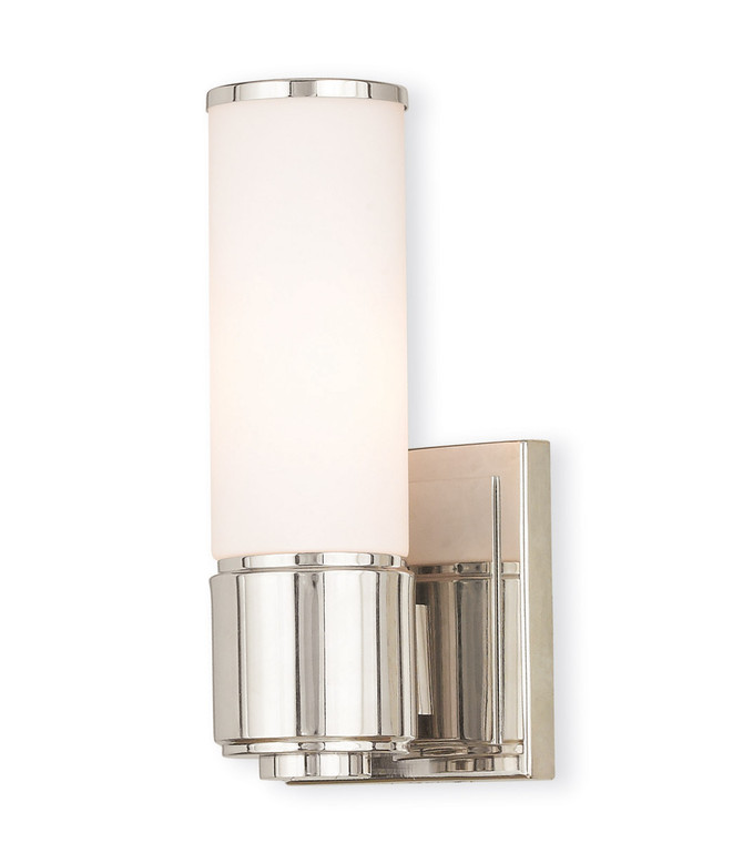 Livex Lighting Weston Collection 1 Light PN Wall Sconce/ Bath Light in Polished Nickel 52121-35