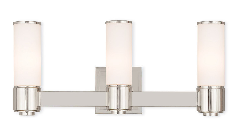 Livex Lighting Weston Collection 3 Light PN Wall Sconce/ Bath Light in Polished Nickel 52123-35