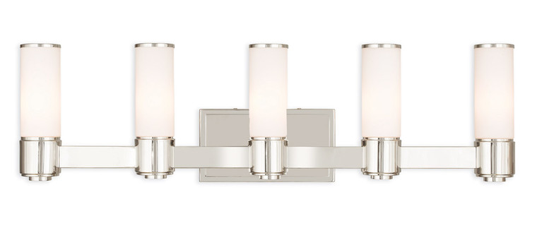 Livex Lighting Weston Collection 5 Light PN Wall Sconce/ Bath Light in Polished Nickel 52125-35