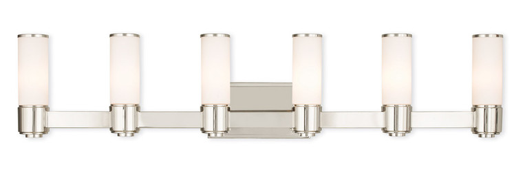 Livex Lighting Weston Collection 6 Light PN Wall Sconce/ Bath Light in Polished Nickel 52126-35