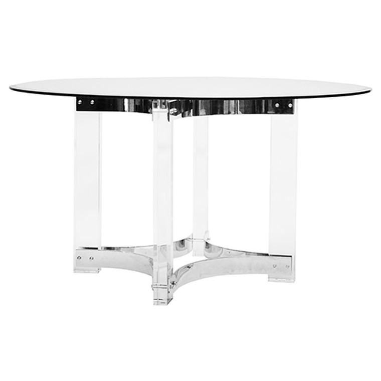 Worlds Away Hendrix Acrylic Dining Table Base with Nickel Stretchers HENDRIX-N