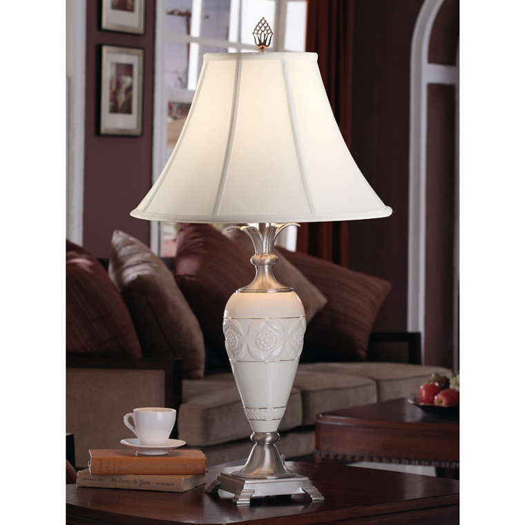 Lite Master Leila Table Lamp in Nickel on Solid Brass with Porcelain T5272NK-SL