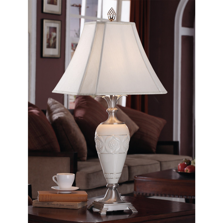 Lite Master Leila Table Lamp in Nickel on Solid Brass with Porcelain T5272NK-SR