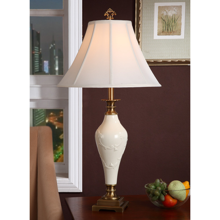 Lite Master Marseille Table Lamp in Antique Solid Brass with Porcelain T5274AB-SL