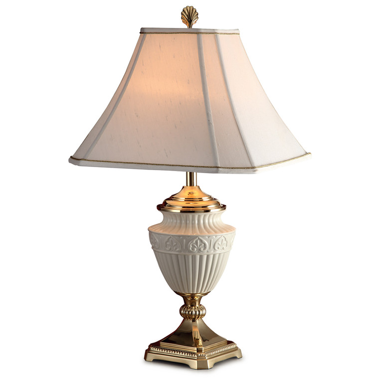 Lite Master Brittany Table Lamp in Polished Solid Brass with Porcelain T5276PB-SR