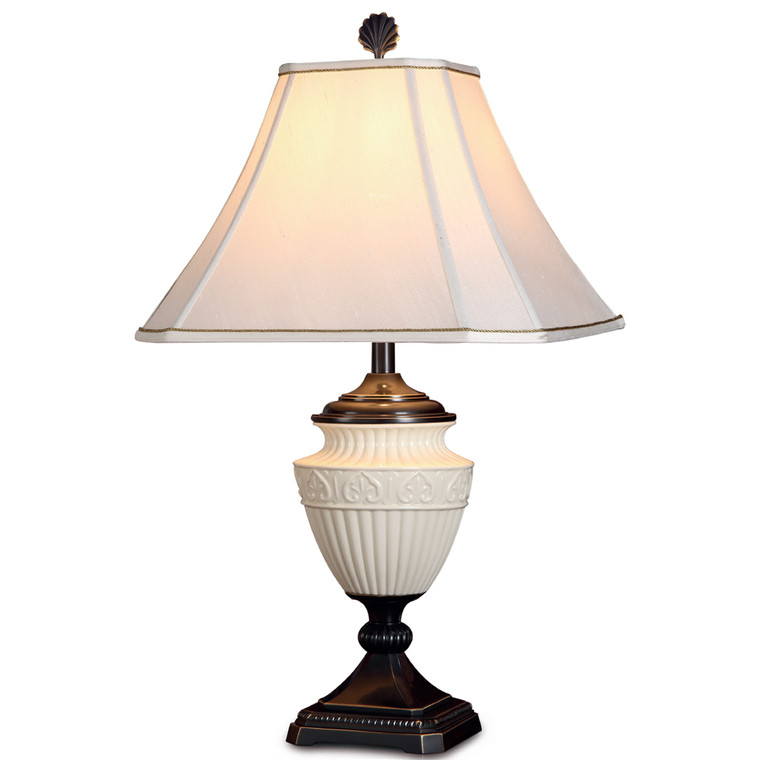 Lite Master Brittany Table Lamp in Oil Rubbed Bronze on Solid Brass with Porcelain T5276RZ-SR