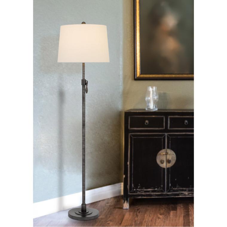 CAL Lighting 150W 3 way Riverwood adjustable metal floor lamp with hardback taper fabric drum shade BO-2979FL
