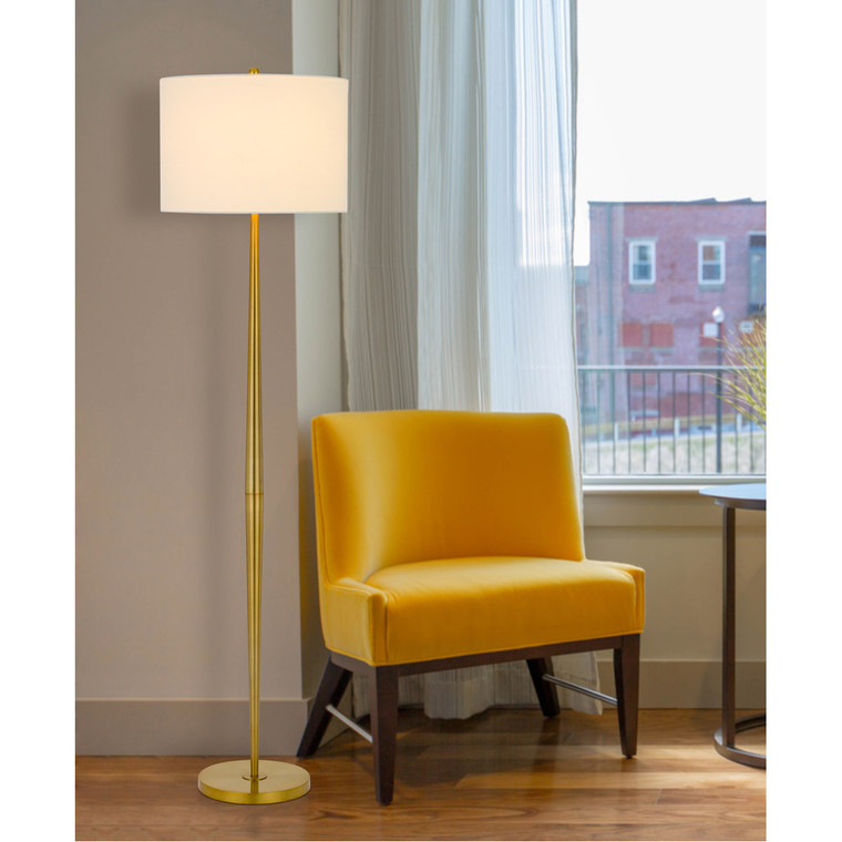 CAL Lighting 150W 3 way Sterling metal floor lamp with hardback drum shade BO-2980FL-AB