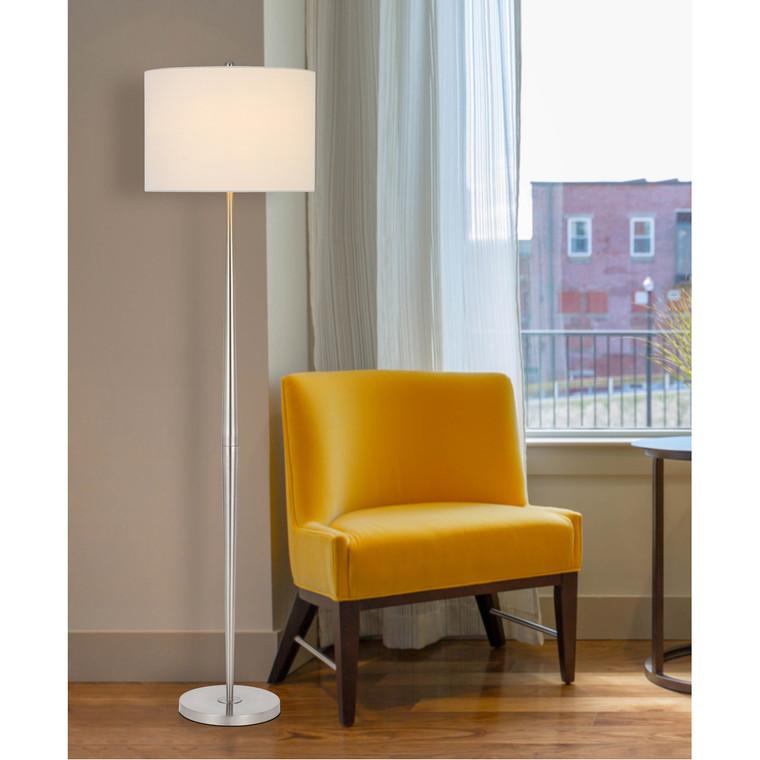 CAL Lighting 150W 3 way Sterling metal floor lamp with hardback drum shade BO-2980FL-BS