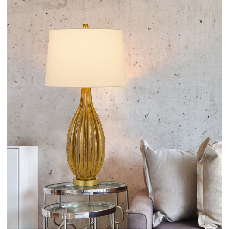CAL Lighting 150W 3 way Morlaix glass table lamp with hardback taper fabric drum shade BO-2975TB