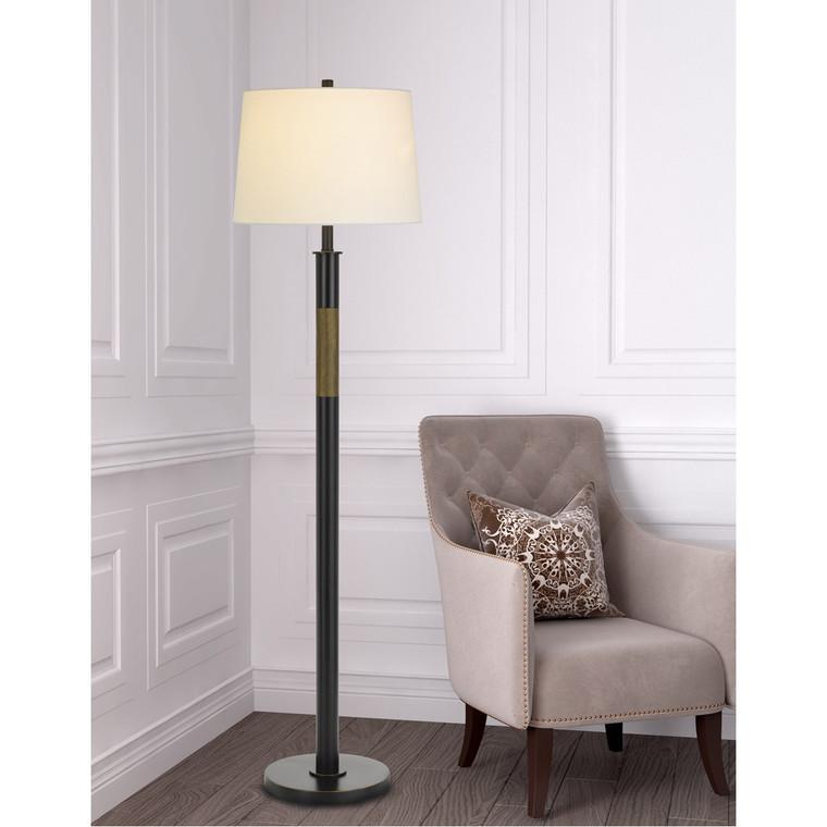 CAL Lighting 150W 3 way Summerfield metal floor lamp with hardback taper drum fabric shade BO-2968FL-ORB