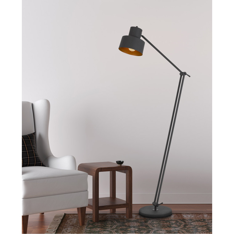 CAL Lighting 60W Davidson metal floor lamp with weighted base, adjustable upper and lower arms. On off socket switch BO-2966FL