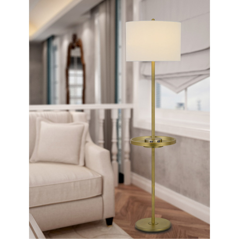 CAL Lighting 150W 3 way Crofton metal floor lamp with centered metal tray table with 2 USB charging ports and weighted metal base BO-2983FL-AB