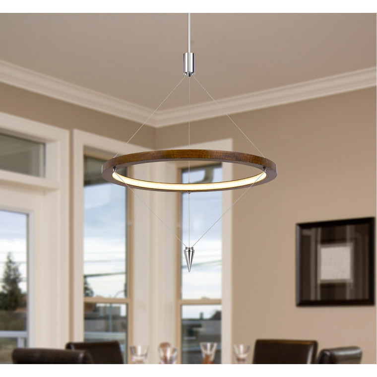 CAL Lighting Viterbo integrated dimmable LED pine wood pendant fixture with suspended steel braided wire. 24W, 1920 lumen, 3000K FX-3752-24