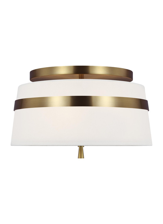 AH - Alexa Hampton Lighting Cordtlandt 3 - Light Small Flush Mount in Burnished Brass