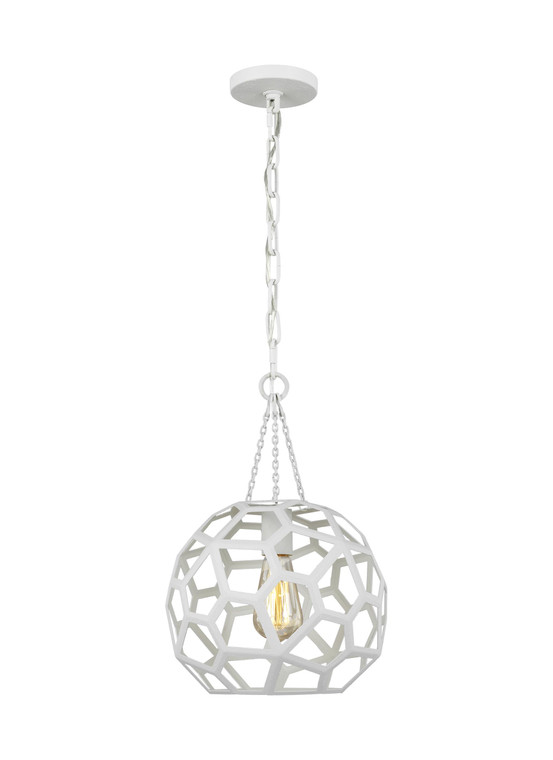 AH - Alexa Hampton Lighting Feccetta 1 - Light Small Pendant in Paper Mache White