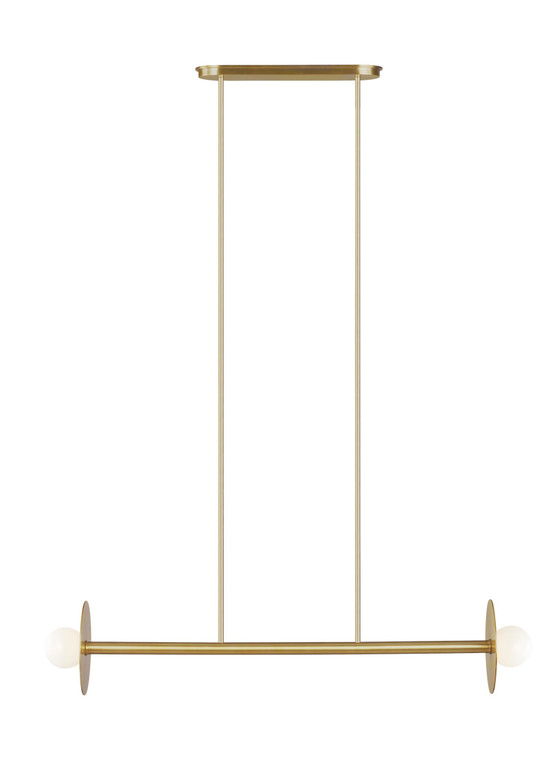 Kelly by Kelly Wearstler Nodes 2 - Light Linear Chandelier in Burnished Brass