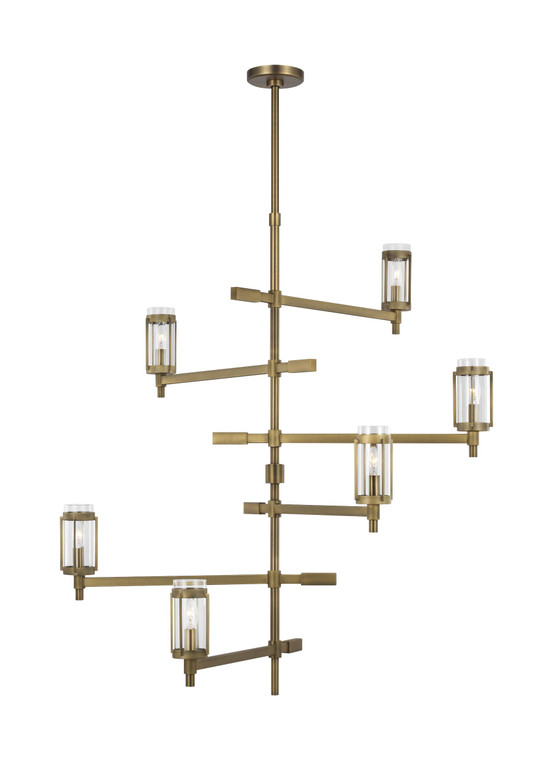 Lauren by Ralph Lauren Flynn 6 - Light Chandelier in Time Worn Brass