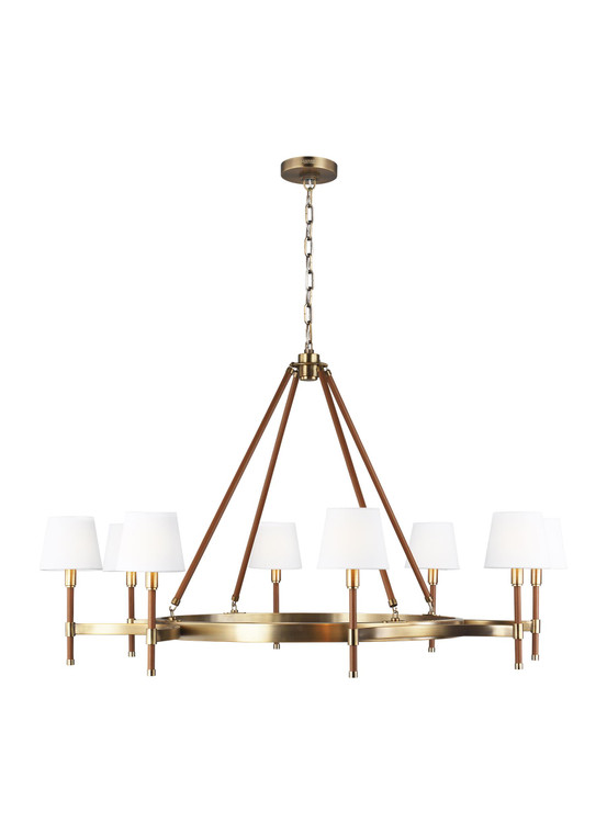 Lauren by Ralph Lauren Katie 8 - Light Chandelier in Time Worn Brass / Saddle Leather