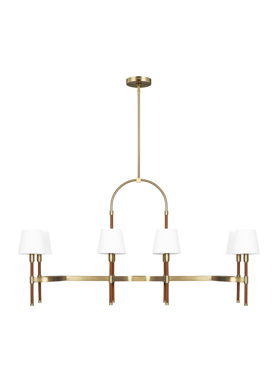 Lauren by Ralph Lauren Katie 8 - Light Linear Chandelier in Time Worn Brass / Saddle Leather