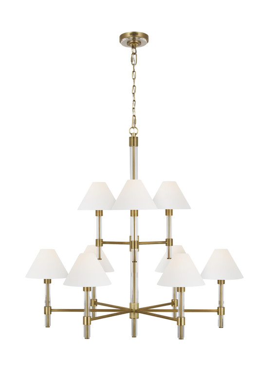 Lauren by Ralph Lauren Robert 9 - Light Chandelier in Time Worn Brass / Clear Acrylic
