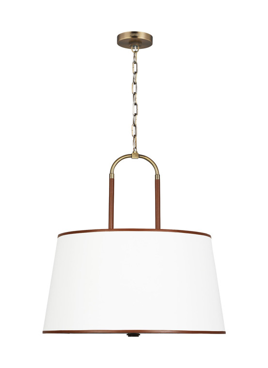 Lauren by Ralph Lauren Katie 4 - Light Large Pendant in Time Worn Brass / Saddle Leather