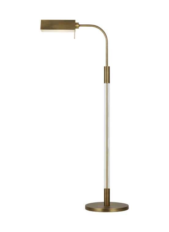 Lauren by Ralph Lauren Robert 1 - Light Task Floor Lamp in Time Worn Brass / Clear Acrylic