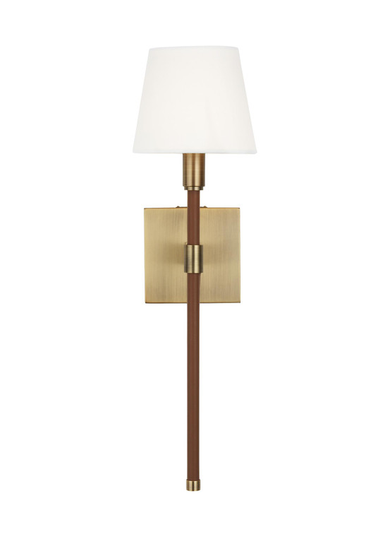 Lauren by Ralph Lauren Katie 1 - Light Wall Sconce in Time Worn Brass / Saddle Leather