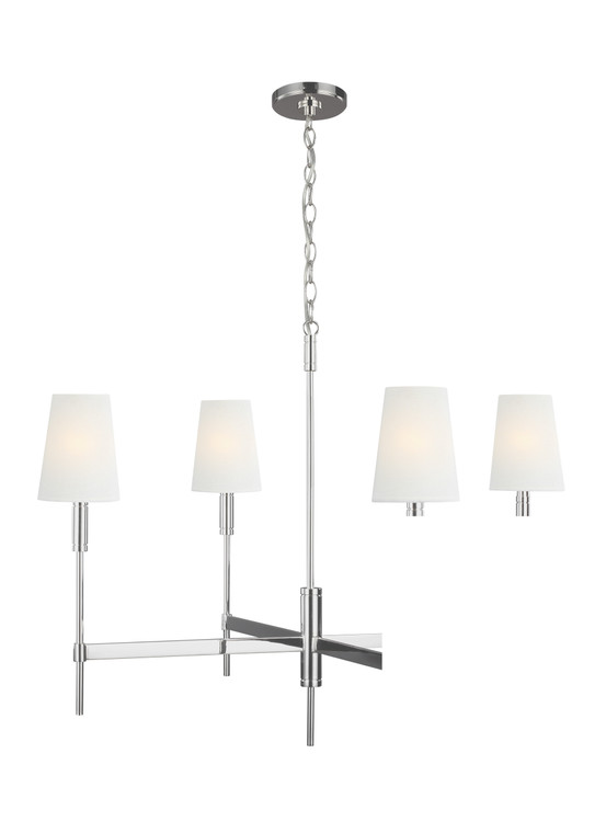 TOB by Thomas O'Brien Beckham Classic 4 - Light Chandelier in Polished Nickel