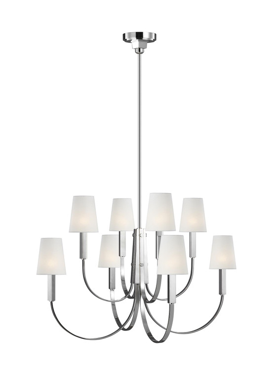 TOB by Thomas O'Brien Logan 8 - Light Chandelier in Polished Nickel