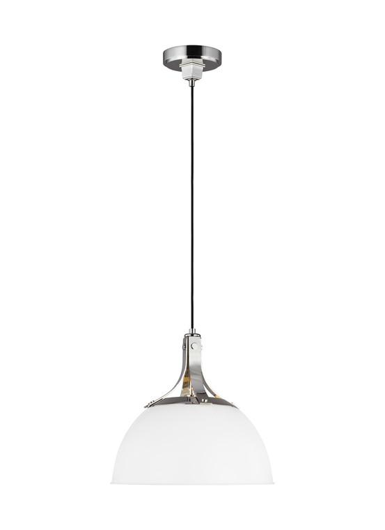 TOB by Thomas O'Brien Logan 1 - Light Pendant in Polished Nickel / Matte White