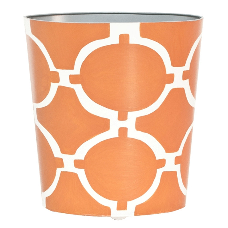 Worlds Away Acadia Oval Wastebasket in Orange and Cream WBACADIAO