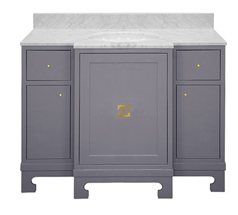 Worlds Away Alice Gray Lacquer Bath Vanity with Gold Leaf Hardware and White Carrara Marble Top ALICE GRY