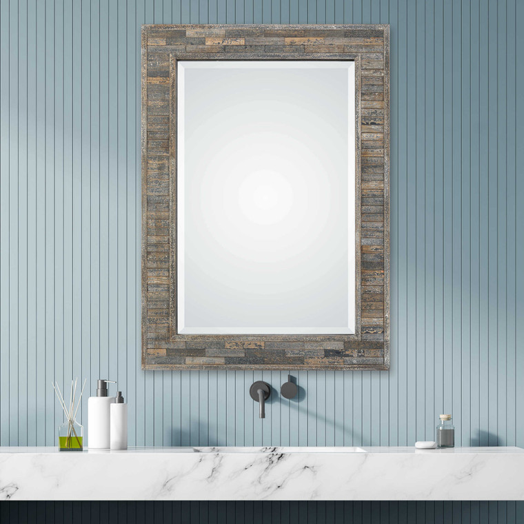 Lily Lifestyle Mirror Strips Of Weathered Pine - Distressed Charcoal Blue W00428