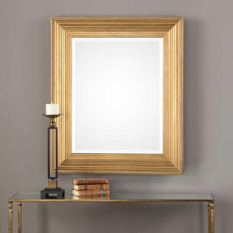 Lily Lifestyle Mirror Lightly Antiqued Gold Leaf W00431
