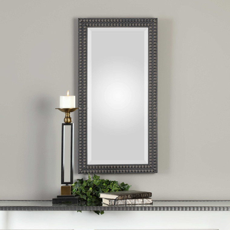 Lily Lifestyle Mirror Aged Black With A Taupe Glaze W00432
