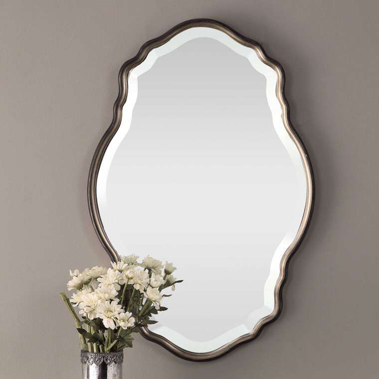 Lily Lifestyle Mirror Antiqued Silver Champagne Accented With A Dark Bronze Outer Edge W00434