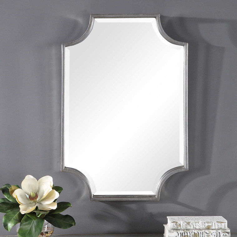 Lily Lifestyle Mirror Finished In A Lightly Antiqued Silver Leaf W00457