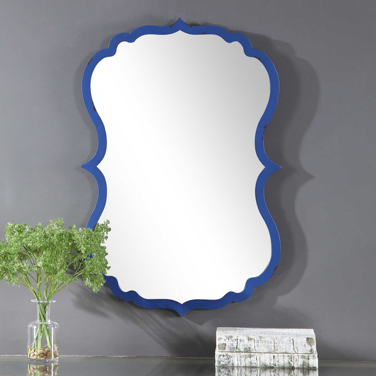 Lily Lifestyle Mirror Finished In A Strong Cobalt Blue And Accented With Dark Bronze Distressing W00458